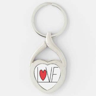 Liebe KeyChain Silberfarbener Herz Schlüsselanhänger