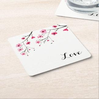Liebe, Kirschblüte, Watercolormalerei, Hochzeit Rechteckiger Pappuntersetzer