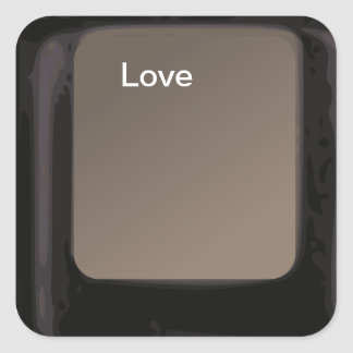 Liebe-Knopf-/Computer-Schlüsselaufkleber Quadrataufkleber