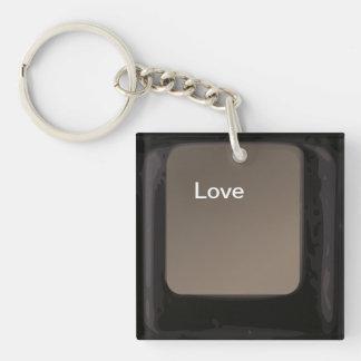 Liebe-Knopf/Schlüssel Einseitiger Quadratischer Acryl Schlüsselanhänger