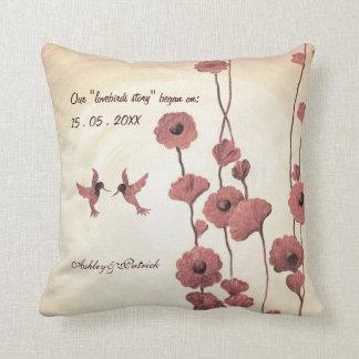 Liebe-Kolibris und gemalter Blumen-Amerikaner MoJ Zierkissen