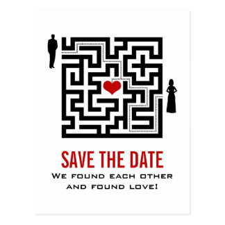Liebe-Labyrinth-Save the Date Postkarte