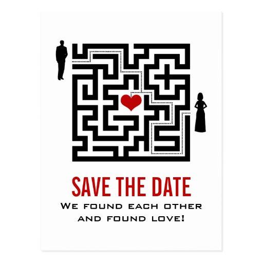 Liebe-Labyrinth-Save the Date Postkarte