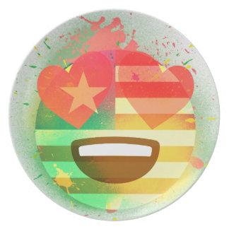 Liebe-Lächeln-Amerika-Flagge Emoji Melaminteller