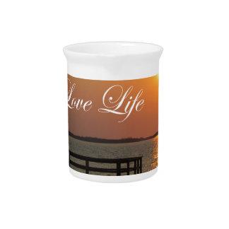 Liebe-Leben - Dock und Sonnenuntergang Getränke Pitcher