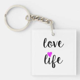 Liebe-Leben Keychain Einseitiger Quadratischer Acryl Schlüsselanhänger