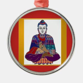 LIEBE-LICHT Frieden Buddhismus BUDDHAS Mahatma Silbernes Ornament