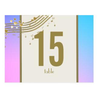 Liebe-Lied-Tischnummer Postkarte