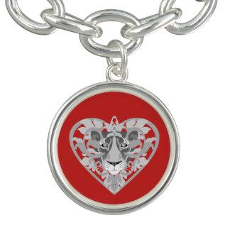 Liebe-Löwinlocket-Charmearmband (rot) Armband