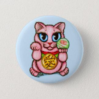 LIEBE Maneki Neko viel Glück-Katzen-niedlicher Runder Button 5,7 Cm