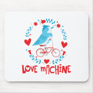 Liebe-Maschinen-Drossel-Vogel auf Fahrrad Mousepad