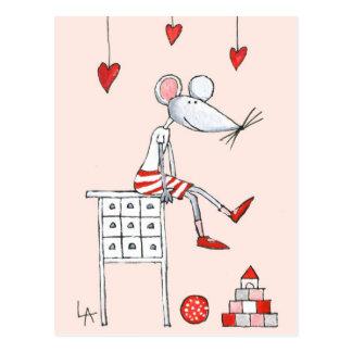 Liebe-Maus mit Herzen Postkarte