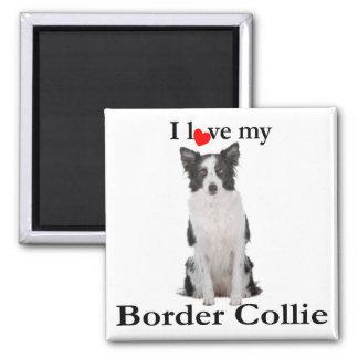 Liebe mein Grenzcollie-Magnet Quadratischer Magnet