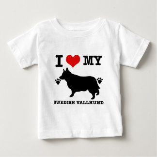 Liebe mein schwedisches vallhund baby t-shirt