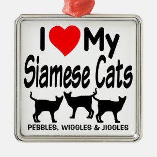 Liebe meine drei siamesischen Katzen Quadratisches Silberfarbenes Ornament