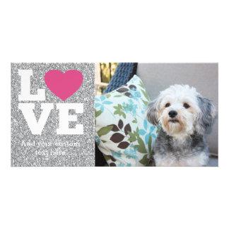 Liebe mit einem hellen rosa Herz und Bildkarten
