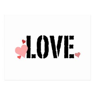 Liebe mit Herzen Postkarte