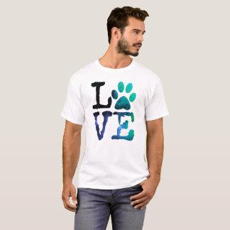 Liebe, mit Hundetatzen-Druck-Shirt T-Shirt