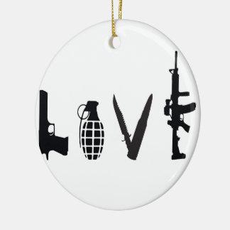 Liebe mit Waffen Keramik Ornament