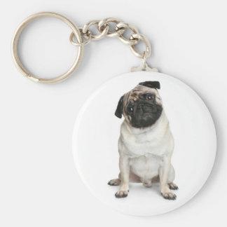 Liebe-Mops-Welpen-Hund Keychain Standard Runder Schlüsselanhänger