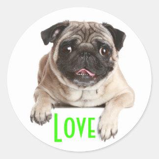 Liebe-Mops-Welpen-Hundegruß-Aufkleber