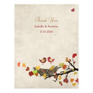 Liebe-Nest-Hochzeit danken Ihnen Postkarte