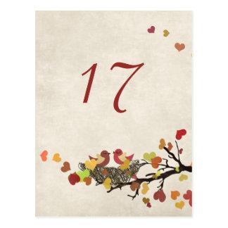 Liebe-Nest-Wedding Tischnummer-Karte Postkarte