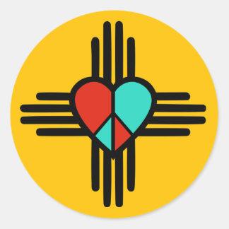 Liebe, New-Mexiko, Frieden Runder Aufkleber