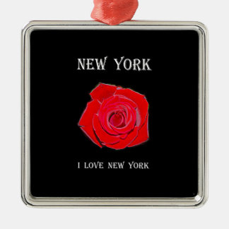 Liebe New York (Rose) New York I Silbernes Ornament