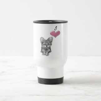 Liebe niedliche Yorkie Hundekunst mit Herzen 3D Reisebecher