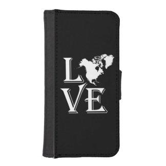 Liebe-Nordamerika-Kontinentkarte Geldbeutel Hülle Für Das iPhone SE/5/5s