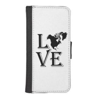 Liebe-Nordamerika-Kontinentkarte iPhone SE/5/5s Geldbeutel Hülle