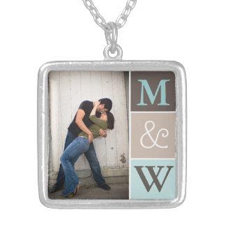 Liebe-Paar-Foto u Initialen-Monogramm-Halskette
