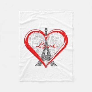 Liebe Paris Eiffel-Turm-| im roten Herzen Fleecedecke