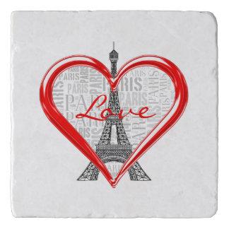 Liebe Paris Eiffel-Turm-| im roten Herzen Töpfeuntersetzer