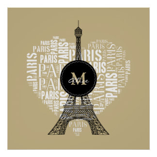 Liebe-Paris | Eiffel-Turm-| Monogramm Poster