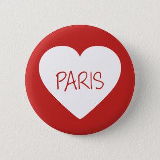 Liebe-Paris-Herz Runder Button 5,1 Cm