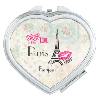 Liebe Paris mit Eiffel-Turm auf Vintagem Muster Taschenspiegel