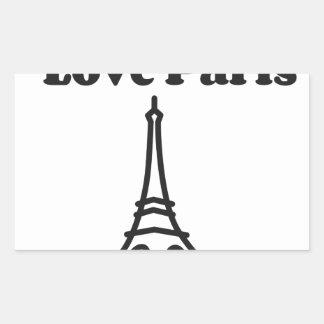 Liebe Paris Rechteckiger Aufkleber