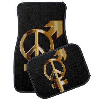 Liebe-Pfeil und Friedenszeichen-Set von 4 Autofußmatte