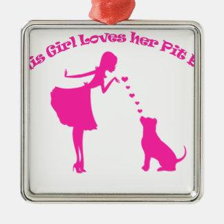 Liebe pitty quadratisches silberfarbenes ornament