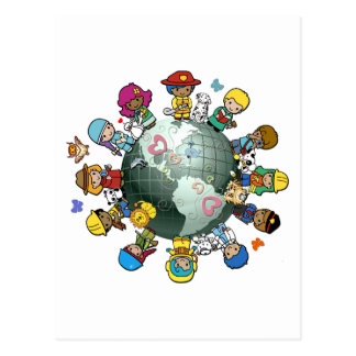 Liebe-Planeten-Erde Vereinigen Sie für Frieden Postkarte