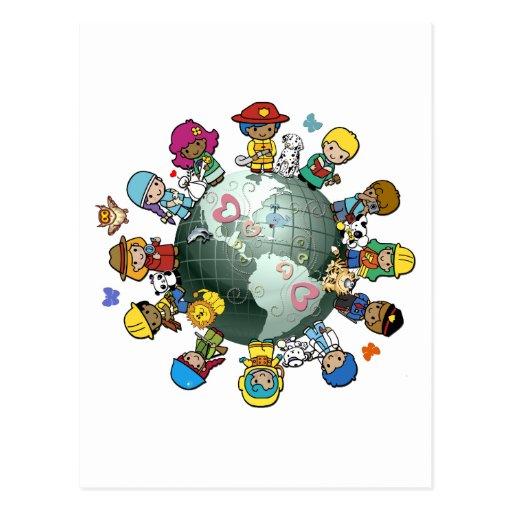 Liebe-Planeten-Erde: Vereinigen Sie für Frieden Postkarte