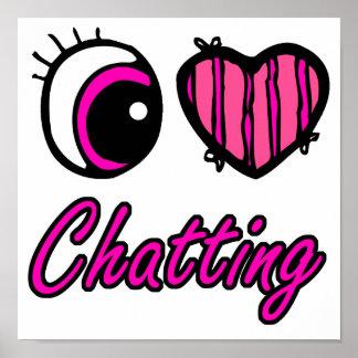 Liebe-Plaudern des Emo Augen-Herz-I Poster