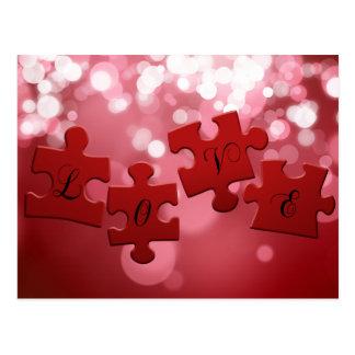 Liebe-Puzzlespiel - Postkarte