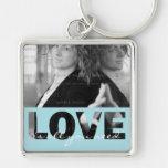 Liebe-quadratisches MetallFoto Keychain (großes) | Schlüsselband