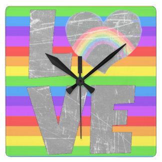 Liebe-Regenbogen-Herz-Uhr Quadratische Wanduhr