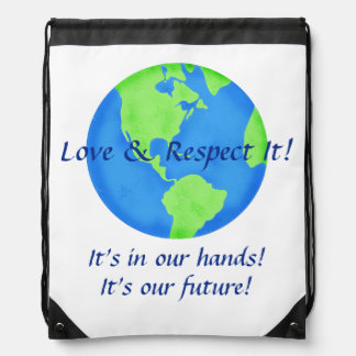 Liebe-Respekt-Erde, seine unsere Zukunft in Turnbeutel