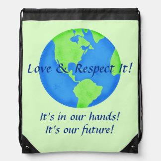 Liebe-Respekt-Erde, seine unsere Zukunft in Sportbeutel