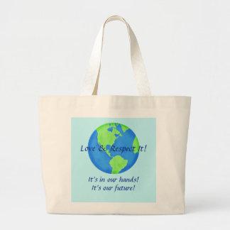 Liebe-Respekt-Erde, unsere Zukunft in unseren Jumbo Stoffbeutel